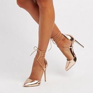 Rose Gold Close Toe Lace Up Heels